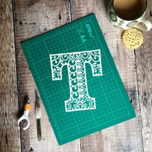 Letter T papercut template