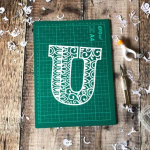 Letter U papercut template