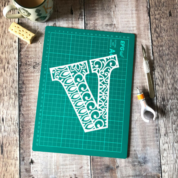 Letter V papercut template