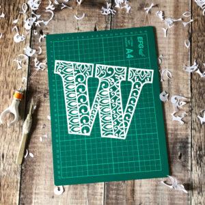Letter W papercut template