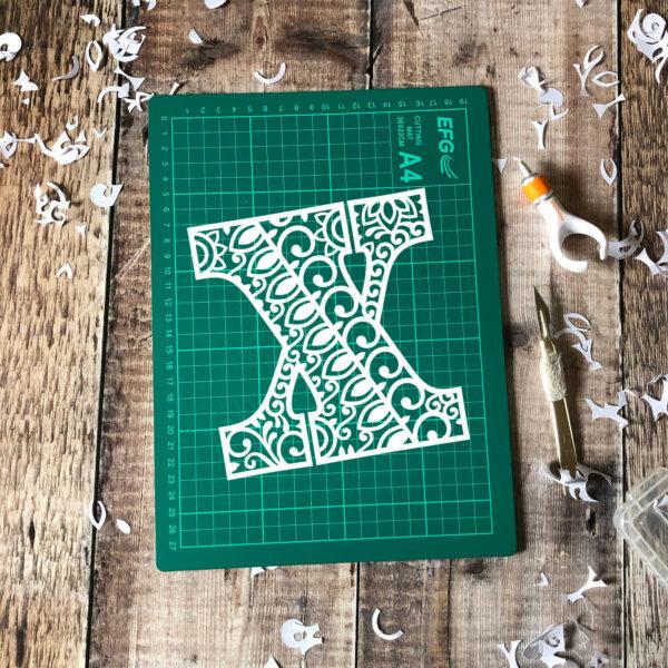 Letter X papercut template
