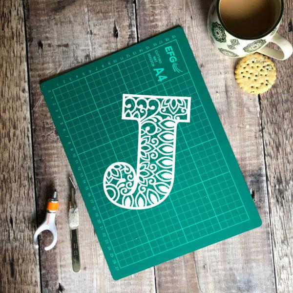 Letter J Papercut